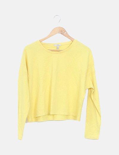 Sudadera crop amarilla