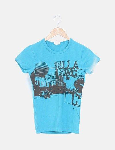 Camiseta azul estampada