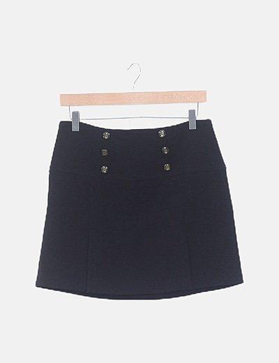 Mini falda negra detalle botones