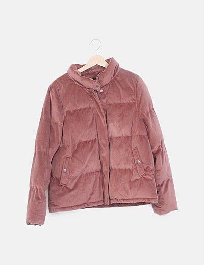 Chaquetón acolchado terciopelo rosa