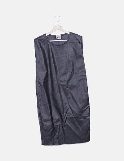 Vestido negro encerado detalle cremalleras