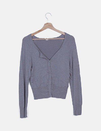 Chaqueta tricot jaspeada gris