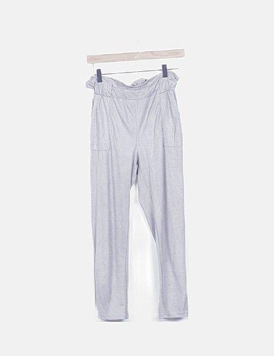 Pantalón paper bag antelina gris