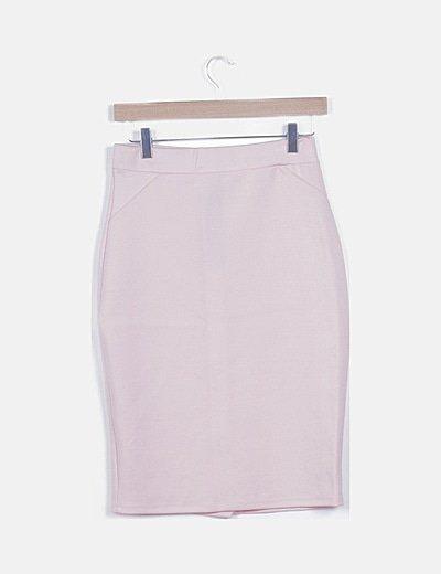 Falda midi rosa palo