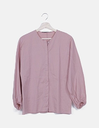 Blusa rosa manga abullonada