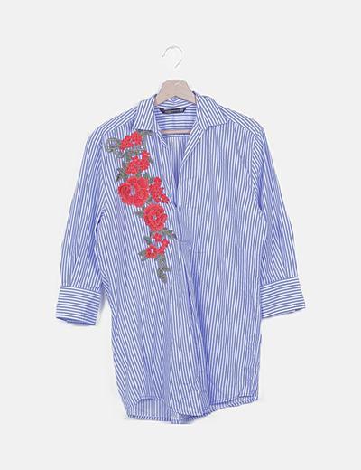 Vestido camisero rayas bordado floral