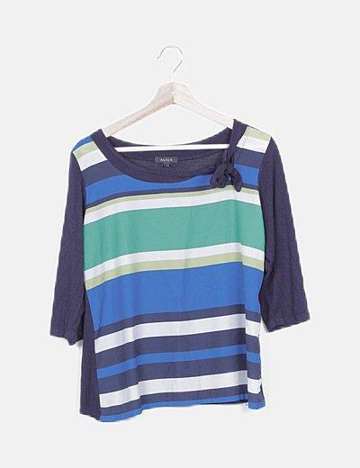 Blusa azul marino estampado de rayas