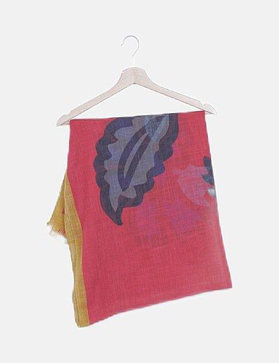 Foulard rojo estampado detalle flecos