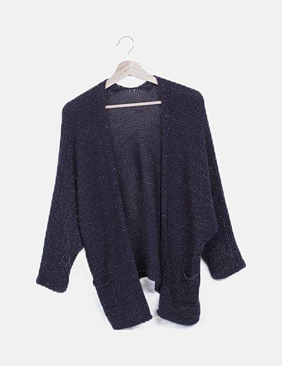 Cárdigan tricot azul marino glitter