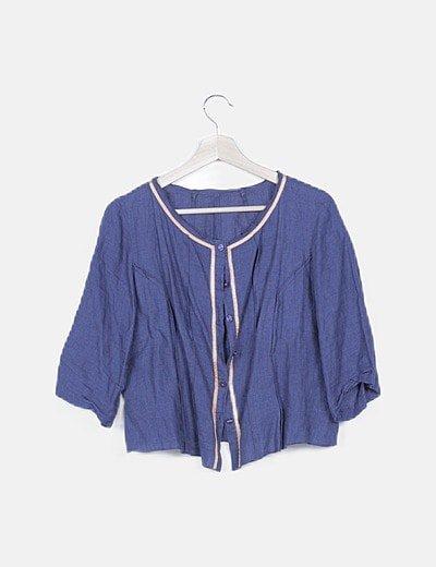 Blusa abotonada azul marino jaspeado
