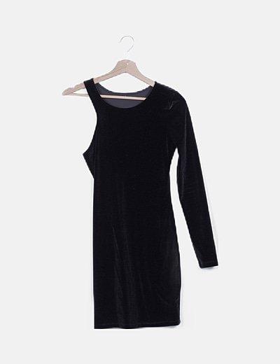 Vestido asimétrico velvet negro