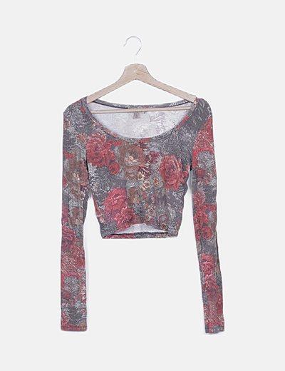 Camiseta crop print floral