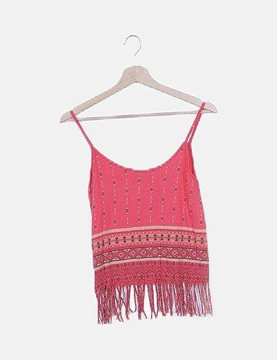 Blusa rosa print étnico desflecada