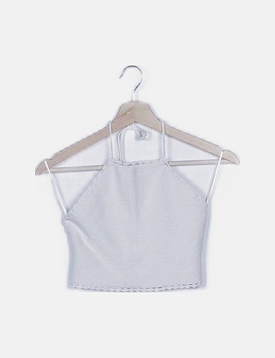 Crop top de punto blanco