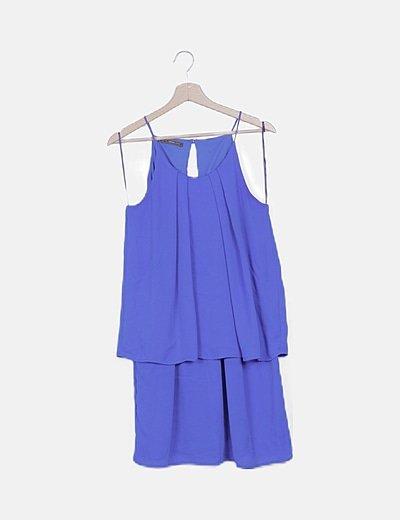 Vestido gasa plisado azul eléctrico