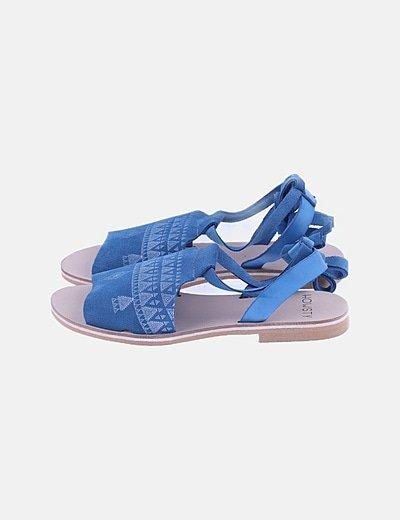 Sandalia étnica lace up azul