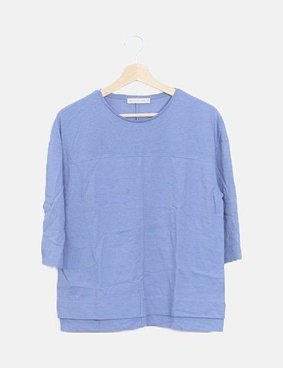 Camiseta azul manga francesa