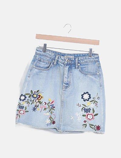 Mini falda denim floral