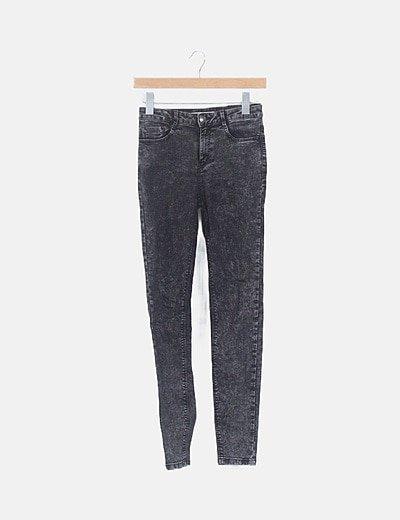 Jeans elástico negro jaspeado