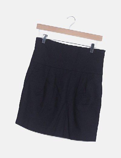 Falda midi negra cremallera lateral