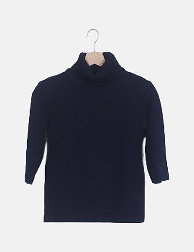 Jersey azul marino punto manga francesa