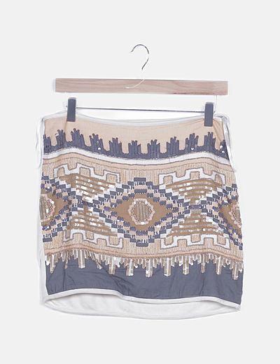 Falda mini combinada estampado strass
