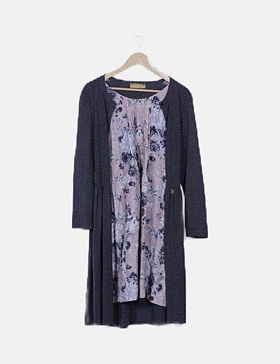 Vestido gris marengo detalle floral