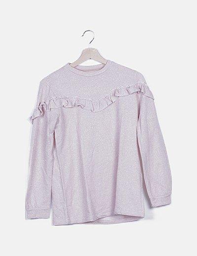 Jersey rosa glitter detalle volantes