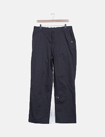 Pantalón recto negro de paño