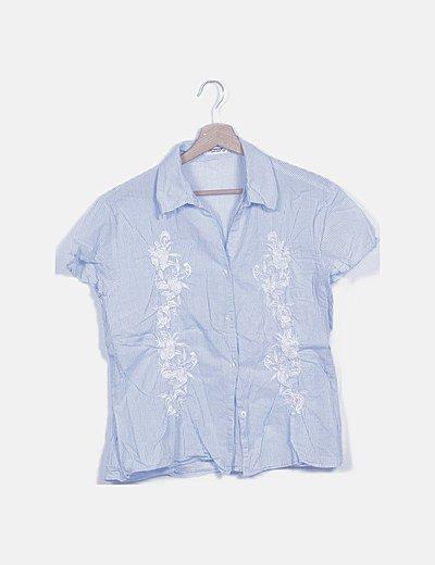 Blusa combinada rayas azul