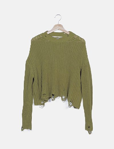 Jersey de punto verde ripped