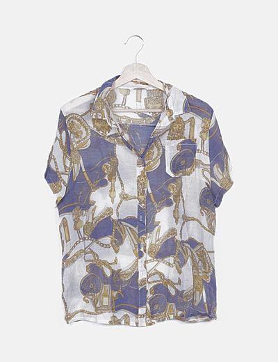 Camisa fluida blanca estampado combinado
