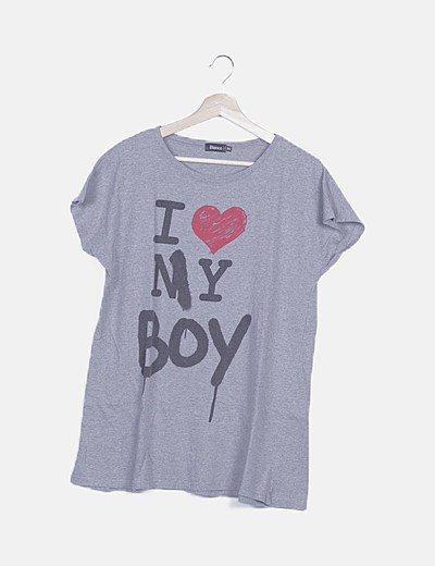 Camiseta gris jaspeado print mensaje