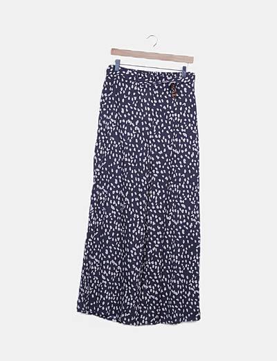 Pantalón fluido azul marino estampado