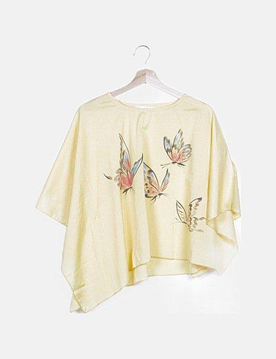 Blusa amarilla print mariposas glitter