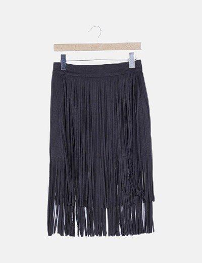 Falda antelina negra con flecos