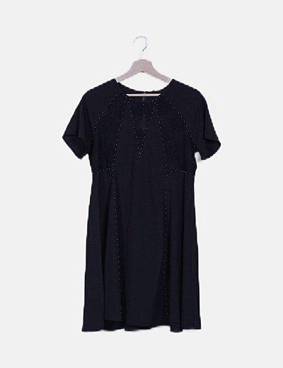 Vestido negro combinado encaje y abalorios