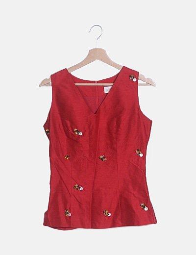 Camiseta rojo abalorios