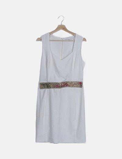 Vestido blanco cintura strass