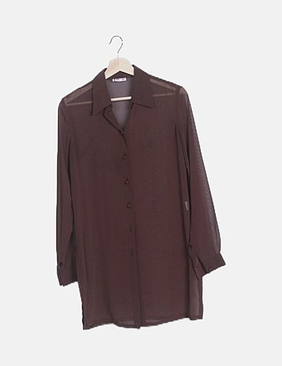 Camisa semitransparente marrón
