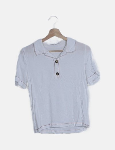 Camisa blanca botones costura roja