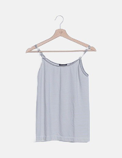 Camiseta tirantes rayas gris