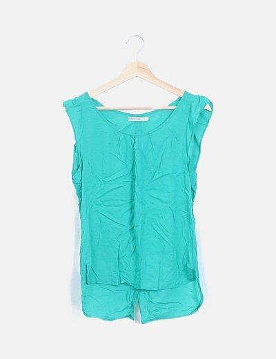 Blusa verde manga corta
