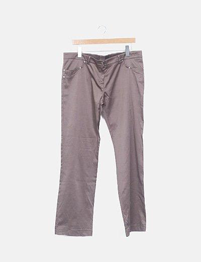 Pantalón satinado taupé
