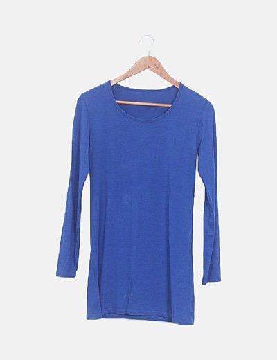 Vestido mini manga larga azul