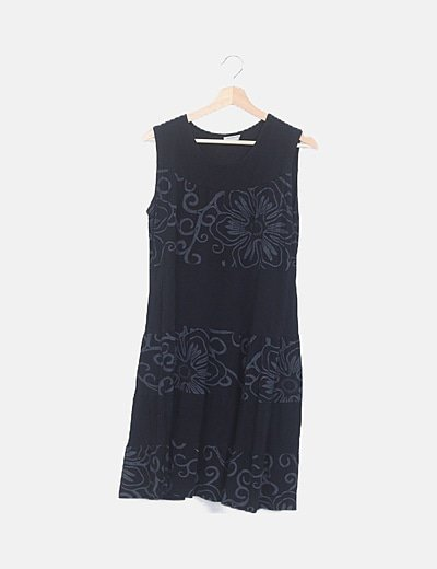 Vestido mini evasé estampado negro