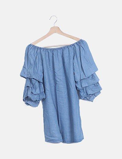 Vestido denim manga abombada