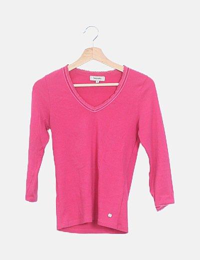 Camiseta rosa canalé manga francesa