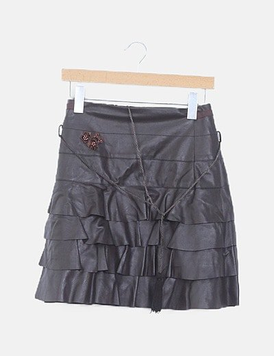 Minifalda marrón oscuro polipiel