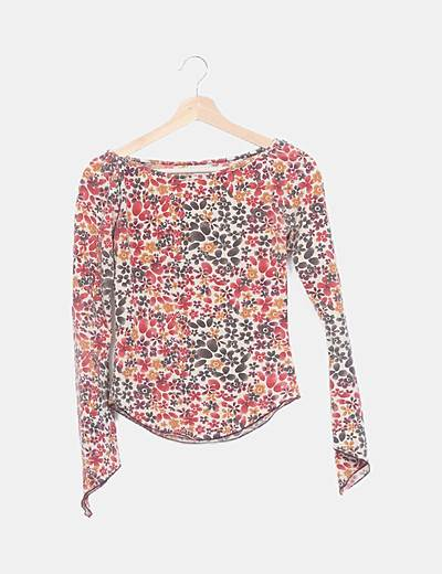 Camiseta estampada floral manga larga